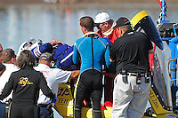 Nov. 22, 2008; Chandler, AZ, USA; Rescue personnel extract top fuel hydro driver James Ray from his capsule after crashing during qualifying for the Napa Auto Parts World Finals at Firebird Lake. Ray was okay in the accident and was transported to a local hospital for further evaluation. Mandatory Credit: Mark J. Rebilas-