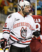 David Strathman (NU - 6) - The Northeastern University Huskies defeated the Harvard University Crimson 4-1 (EN) on Monday, February 8, 2010, at the TD Garden in Boston, Massachusetts, in the 2010 Beanpot consolation game.