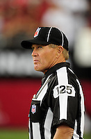 Sept. 27, 2009; Glendale, AZ, USA; NFL referee Laird Hayes during the game between the Arizona Cardinals against the Indianapolis Colts at University of Phoenix Stadium. Indianapolis defeated Arizona 31-10. Mandatory Credit: Mark J. Rebilas-