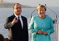 French President, Francoise Hollande and German Chancellor Angela Merkel , attends at press conference  on board of Itally's Navy Garibaldi, at the of Italy - France - Germany summit in Ventotene Island 22 August 2016