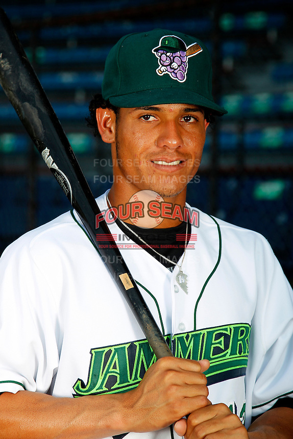 Jamestown Jammers shortstop Yefri Perez #13 poses for a photo before a game against the Mahoning Valley Scrappers at Russell E. Diethrick Jr Park on September 2, 2011 in Jamestown, New York.  Mahoning Valley defeated Jamestown 8-4.  (Mike Janes/Four Seam Images)