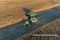 63801-12804 Harvesting corn and unloading into grain cart in fall-aerial  Marion Co. IL