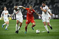 30th July 2020; Bankwest Stadium, Parramatta, New South Wales, Australia; A League Football, Adelaide United versus Perth Glory; Riley McGree of Adelaide United tries to get past the challenges of Osama Malik and Jacob Tratt of Perth Glory