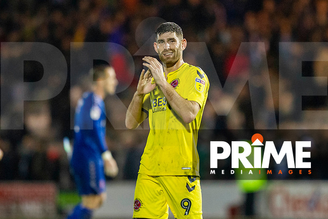 Ched Evans of Fleetwood Town claps the fans at full time of the Sky Bet League 1 match between Plymouth Argyle and Fleetwood Town at Home Park, Plymouth, England on 25 November 2018. Photo by Mark Hawkins / PRiME Media Images.