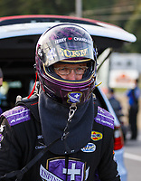 Sep 22, 2017; Mohnton, PA, USA; NHRA funny car driver Jack Beckman during the Dodge NHRA Nationals at Maple Grove Raceway. Mandatory Credit: Mark J. Rebilas-USA TODAY Sports