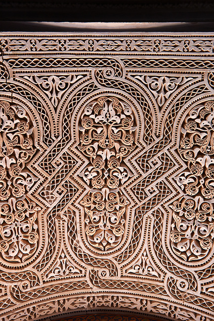 Berber Mocarabe Honeycomb work plaster decorations in the Riad of the Kasbah of Telouet, Atlas Mountains, Morocco
