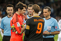Real Madrid's Iker Casillas and Valencia's Roberto Soldado during King's Cup match. January 15, 2013. (ALTERPHOTOS/Alvaro Hernandez) /NortePhoto