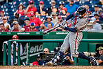 8 July 2017: Atlanta Braves outfielder Nick Markakis in action against the Washington Nationals at Nationals Park in Washington, DC. The Braves shut out the Nationals 13-0 to take the third game of their 4-game series. Mandatory Credit: Ed Wolfstein Photo *** RAW (NEF) Image File Available ***