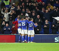 31st January 2020; Cardiff City Stadium, Cardiff, Glamorgan, Wales; English Championship Football, Cardiff City versus Reading; Callum Paterson of Cardiff City celebrates with team mates after scoring the equalizer making it 1-1 in the 70th minute
