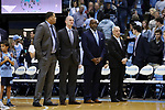 CHAPEL HILL, NC - FEBRUARY 12: UNC head coach Roy Williams (right) with assistants from (right) Steve Robinson, Brad Frederick, and Sean May. The University of North Carolina Tar Heels hosted the University of Notre Dame Fighting Irish on February 12, 2018 at Dean E. Smith Center in Chapel Hill, NC in a Division I men's college basketball game. UNC won the game 83-66.