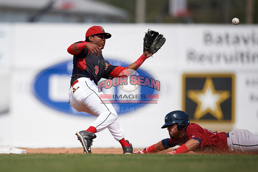 Batavia Muckdogs shortstop Marcos Rivera (8) catches a throw before tagging Jonathan Laureano (25) out on an attempted steal during the first game of a doubleheader against the Mahoning Valley Scrappers on September 4, 2017 at Dwyer Stadium in Batavia, New York.  Mahoning Valley defeated Batavia 4-3.  (Mike Janes/Four Seam Images)