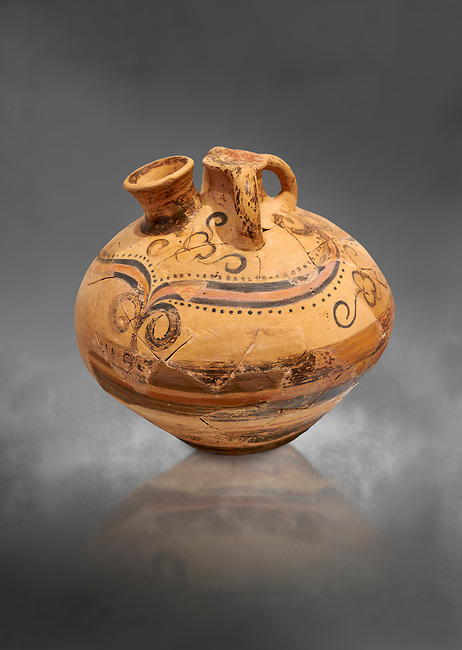 Minoan decorated stirrup jar, Malia Palace 1600-1450 BC; Heraklion Archaeological  Museum, grey background.