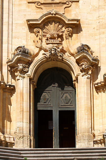 Baroque sculptures of the Church of St George designed by Gagliardi 1702 , Modica, Sicily