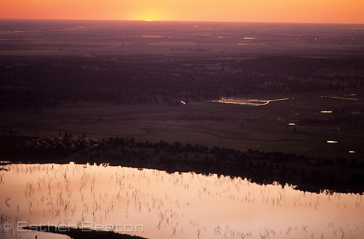 Barren Box Swamp, an irrigation dam. At sunrise. Riverina area of western New South Wales. Aerial view.