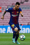 1st October 2017, Camp Nou, Barcelona, Spain; La Liga football, Barcelona versus Las Palmas; Leo Messi of FC Barcelona controls the ball as the game is played behind closed doors due to the riots in Barcelona during the Catlaonio referendum