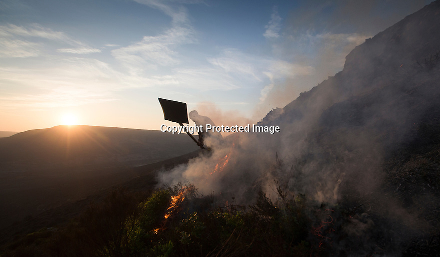 10/05/16 <br /> <br /> After eight hours of tackling a fire high up in a remote part of the Peak District between Sheffield and Manchester, game-keeper, Luke Addy , continues to beat fresh flames that have burnt some 200 acres of precious heather moorland that was destroyed today after a BBQ started a fire in the valley below.<br /> <br /> Full story:   http://www.fstoppress.com/articles/peak-district-fire/<br /> <br /> .A small group of gamekeepers spent the night fighting a major blaze blaze covering two hundred acres of heather moorland close to the Derwent and Ladybower reservoirs in the Derbyshire Peak District.<br /> <br /> The fire, which broke out at around 1pm on Monday, is believed to have been started by a disposable barbecue, according to a spokesman for the reservoir, which quickly escalated into a major fire threatening the natural habitat of many wild animals and birds including red grouse, plovers, meadow pipits and hen harriers.<br /> <br /> Ten fire crews were called to tackle the flames, and remained on scene until dusk fell, leaving the job of managing the fire overnight to the gamekeepers on scene.<br /> <br /> Kieran Logan was one of the gamekeepers left battling the flames and he said moorland management policies implemented some 10 years ago by the landowners, The National Trust were also partly to blame.<br /> <br /> All Rights Reserved: F Stop Press Ltd. +44(0)1335 418365   +44 (0)7765 242650 www.fstoppress.com