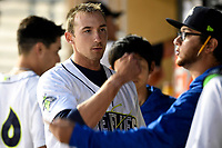 Starting pitcher Jake Simon (17) of the Columbia Fireflies is congratulated in the dugout after completing six innings of a game against the Augusta GreenJackets on Saturday, April 7, 2018, at Spirit Communications Park in Columbia, South Carolina. Augusta won, 6-2. (Tom Priddy/Four Seam Images)