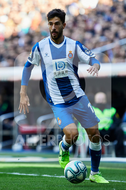 Dídac Vila of RCD Espanyol during La Liga match between Real Madrid and RCD Espanyol at Santiago Bernabeu Stadium in Madrid, Spain. December 07, 2019. (ALTERPHOTOS/A. Perez Meca)