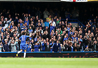 Pictured: Oscar celebrates his goal which gave Chelsea the lead<br />