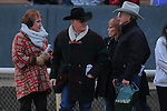 January 18, 2016: Discreetness trainer William J. Fires (black hat) discussing the Smarty Jones Stakes after winning at Oaklawn Park in Hot Springs, AR. Justin Manning/ESW/CSM