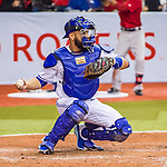 1 April 2016: Toronto Blue Jays catcher Russell Martin in action during a pre-season exhibition game against the Boston Red Sox at Olympic Stadium in Montreal, Quebec, Canada. The Red Sox defeated the Blue Jays 4-2 in the first of two MLB weekend matchups, which saw an attendance of 52,682 at the former home on the Montreal Expos. Mandatory Credit: Ed Wolfstein Photo *** RAW (NEF) Image File Available ***