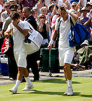 Tomas Berdych (CZE) (12) against Roger Federer (SUI) (1) in the quarter-finals of the men's singles. Tomas Berdych beat Roger Federer 6-4 3-6 6-1 6-4 ..Tennis - Wimbledon Lawn Tennis Championships - Day 9 Wed 30 Jun 2010 -  All England Lawn Tennis and Croquet Club - Wimbledon - London - England..© FREY - AMN IMAGES  Level 1, Barry House, 20-22 Worple Road, London, SW19 4DH.TEL - +44 (0) 20 8947 0100.Email - mfrey@advantagemedianet.com.www.advantagemedianet.com
