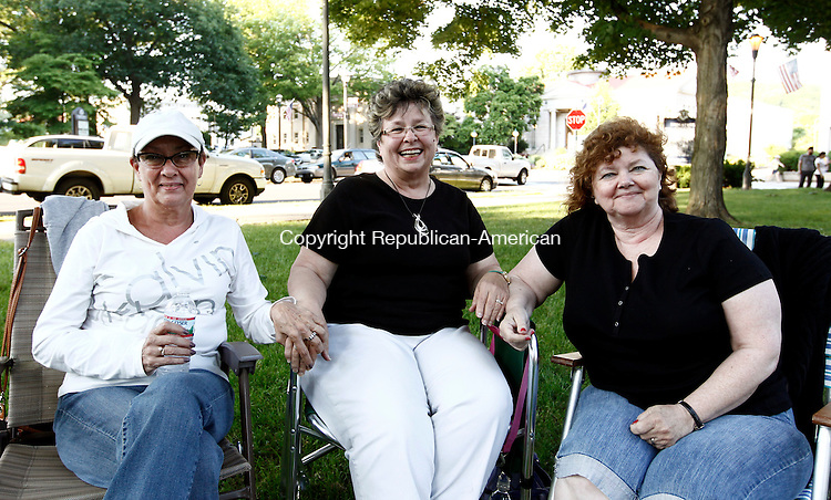 Naugatuck, CT- 24 June 2014-062414CM12-  SOCIAL MOMENTS---  Left to right, Carol Brelsford, Linda Goss and Pat Dwy of Naugatuck during The Naugatuck 2014 Summer Music Festival featuring a performance by the Naugatuck Community Band on Tuesday night.  Christopher Massa Republican-American