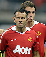 Ryan Giggs #11 and Jonny Evans #23 of Manchester United during the 2010 MLS All-Star match against the MLS All-Stars at Reliant Stadium, on July 28 2010, in Houston, Texas .MANU won 5-2.