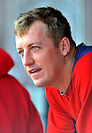 3 March 2011: Washington Nationals' pitcher Jordan Zimmermann sits in the dugout during a Spring Training game against the St. Louis Cardinals at Roger Dean Stadium in Jupiter, Florida. The Cardinals defeated the Nationals 7-5 in Grapefruit League action. Mandatory Credit: Ed Wolfstein Photo