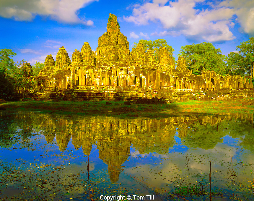 Bayon Temple Reflection, City of Angkor Thom Built 1100-1200 AD, Angkor Watt Archeological Park, Cambodia