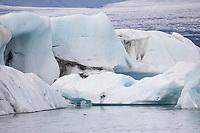 Gletscherlagune Jökulsárlón, Jökulsarlon,  Jokulsarlon, Eislagune, Lagune mit Eis, Eisschollen, Gletschereis, Gletscher, Gletschersee, Gletscherflusslagune. Treibende Eisberge, die von der Gletscherzunge abgebrochen sind und in Richtung Meer treiben. Island. Teil des Vatnajökull-Nationalpark. glacial river lagoon, glacial lake, glacier lake, iceberg lagoon, glacier calving into the lagoon, Vatnajökull National Park, Iceland