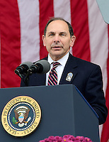 United States Secretary of Veterans Affairs Robert A. McDonald makes remarks before introducing US President Barack Obama in the Memorial Amphitheater at Arlington National Cemetery in Arlington, Virginia after laying a wreath at the Tomb of the Unknown Soldier on Veteran's Day, Friday, November 11, 2016.<br />