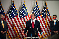 United States Senator John Barrasso (Republican of Wyoming), center, fields questions from reporters as he is joined by US Senate Majority Leader Mitch McConnell (Republican of Kentucky), left, and US Senator Todd Young (Republican of Indiana), right, and other Senate GOP leadership following the GOP luncheon in the Hart Senate Office Building on Capitol Hill in Washington, DC., Tuesday, June 30, 2020.<br /> Credit: Rod Lamkey / CNP /MediaPunch