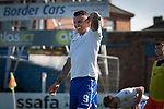 Veteran striker Derek Lyle, appearing for the last time at Palmerston Park, Dumfries watches the action as Queen of the South hosted Dundee United in a Scottish Championship fixture. The home has played at the same ground since its formation in 1919. Queens won the match 3-0 watched by a crowd of 1,531 spectators.