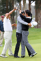 February 22, 2015: Jason Oh,James Hahn,Seung-Yul Noh celebrate after Hahn defeated Dustin Johnson in a 3 hole playoff at the Northern Trust Open. Played at Riviera Country Club, Pacific Palisades, CA.
