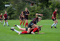 Action from the Women's Central League football match between Western Suburbs and Waterside Karori at Endeavour Park Park in Wellington, New Zealand on Saturday, 25 May 2019. Photo: Dave Lintott / lintottphoto.co.nz