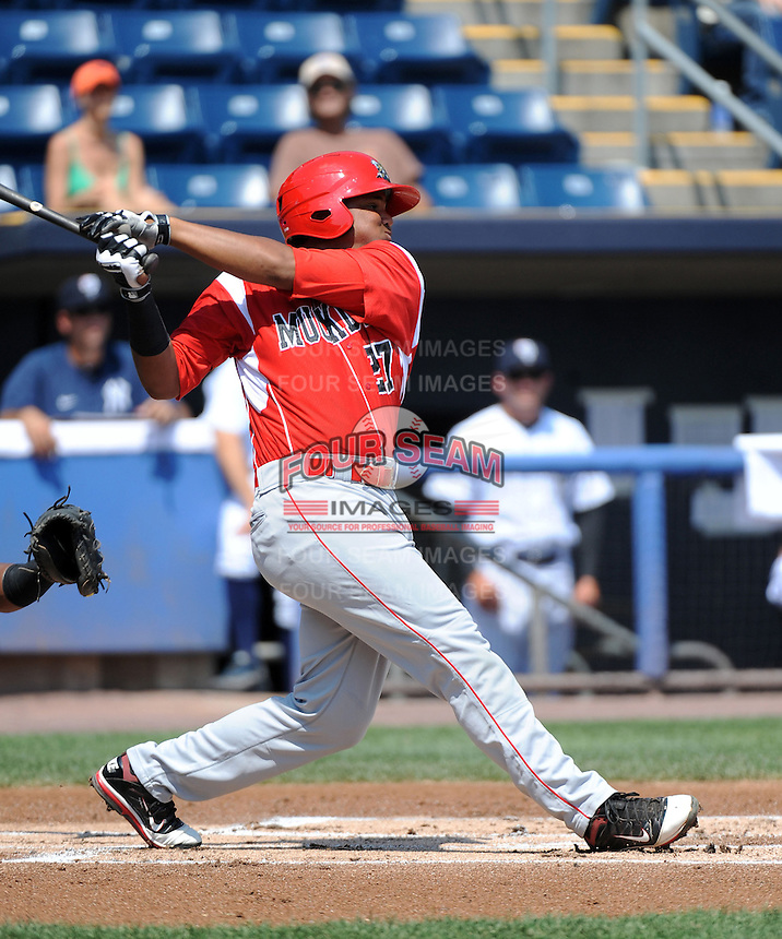 Batavia Muckdogs infielder Felix Munoz (27) during game against the Staten Island Yankees at Richmond County Bank Ballpark at St.George on July 18, 2013 in Staten Island, NY.  Batavia defeated Staten Island 8-2.  (Tomasso DeRosa/Four Seam Images)