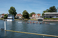"""Henley on Thames, United Kingdom, 2nd July 2018, Monday,   """"Henley Royal Regatta"""",  view,  Leeds  Rowing Club, entered, in the """"Temple Challeng Cup"""",  """"Training on Henley Reach"""", River Thames, Thames Valley, England, © Peter SPURRIER/Alamy Live News,/Alamy Live News,"""