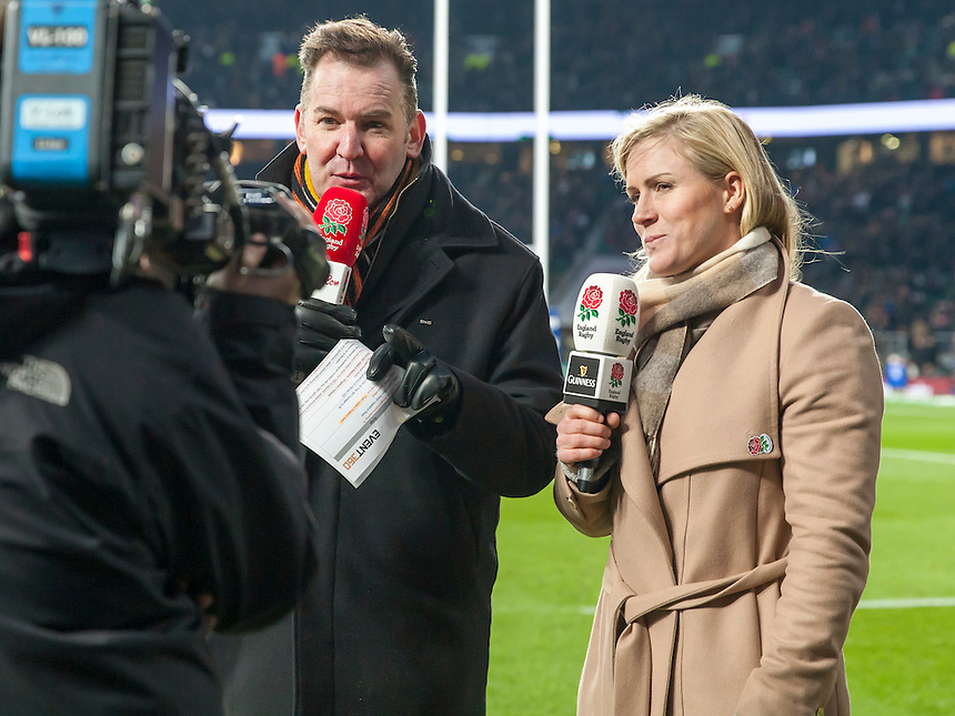 Danielle Waterman and Simon Ward; England v Ireland in a 6 Nations match at Twickenham Stadium, Whitton Road, Twickenham, England, on 27th February 2016