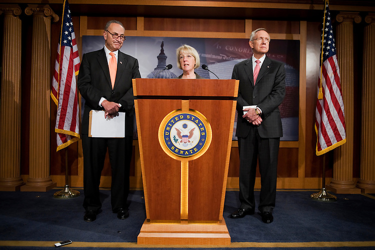 "UNITED STATES - JUNE 14:  From left, Sens. Charles Schumer, D-N.Y., Patty Murray, D-Wash., and Senate Majority Leader Harry Reid, D-Nev., conduct a news conference in the Capitol to ""call on Republicans to rule out cuts to seniors' Medicare benefits in debt talks.""  (Photo By Tom Williams/Roll Call)"