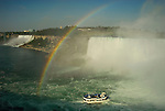 Niagra Falls with tourboat and rainbow.