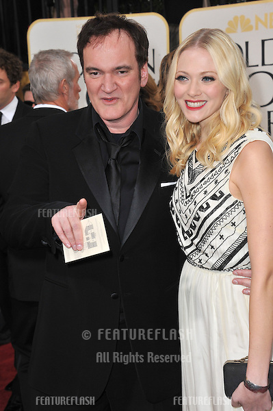 Quentin Tarantino & Melanie Laurent at the 70th Golden Globe Awards at the Beverly Hilton Hotel..January 13, 2013  Beverly Hills, CA.Picture: Paul Smith / Featureflash