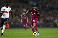 Leroy Sane of Manchester City and Davinson Sánchez of Tottenham Hotspur during Tottenham Hotspur vs Manchester City, Premier League Football at Wembley Stadium on 14th April 2018