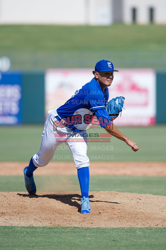 Kansas City Royals pitcher Julio Pinto (68) follows through on his delivery during an Instructional League game against the Cincinnati Reds on October 2, 2017 at Surprise Stadium in Surprise, Arizona. (Zachary Lucy/Four Seam Images)