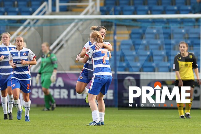 Bianca Bragg of Reading Ladies & Cheryl Williams of Reading Ladies celebrate Readings second goal during the FAWSL2 match between Reading Ladies & Watford Ladies at Farnborough FC on Sunday October 26th 2014.