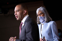 United States Representative Katherine Clark (Democrat of Massachusetts), right, listens as United States Representative Hakeem Jeffries (Democrat of New York) speaks during a news conference at the United States Capitol in Washington D.C., U.S., on Monday, June 29, 2020.  Credit: Stefani Reynolds / CNP /MediaPunch