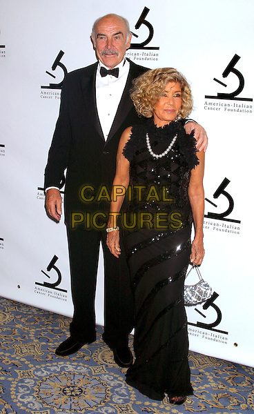 SIR SEAN CONNERY & MICHELINE CONNERY.American-Italian Cancer Foundation Gala, The Pierre Hotel, New York City, New York, USA,.November 15th 2004. .full length married husband wife black dress.Ref: IW.www.capitalpictures.com.sales@capitalpictures.com.©Capital Pictures.