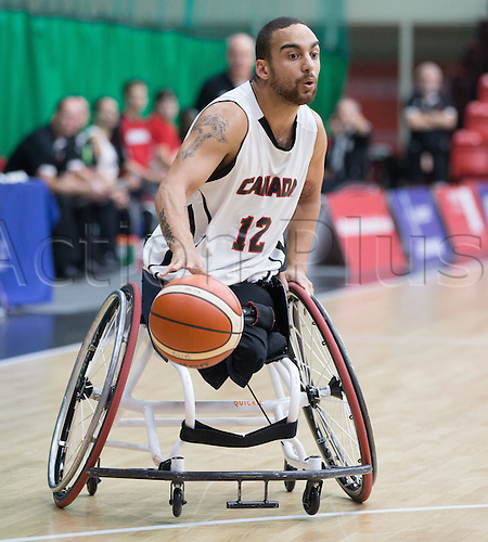 03.07.2016. Leicester Sports Arena, Leicester, England. Continental Clash Wheelchair Basketball, England versus Canada. Deion Green (CAN) dribbles the ball