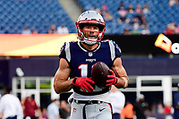 August 9, 2018: New England Patriots wide receiver Julian Edelman (11) warms up prior to the NFL pre-season football game between the Washington Redskins and the New England Patriots at Gillette Stadium, in Foxborough, Massachusetts.The Patriots defeat the Redskins 26-17. Eric Canha/CSM
