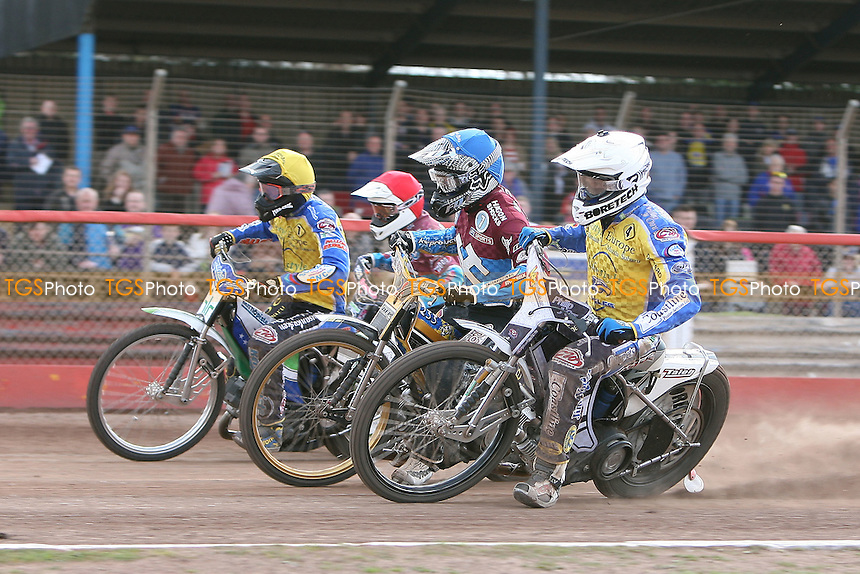 Heat 14: Rob Mear (red), Kim Nilsson (blue), Cameron Woodward (white) and Timo Lahti - Lakeside Hammers vs Eastbourne Eagles - Sky Sports Elite League Speedway at Arena Essex Raceway, Purfleet - 06/04/12 - MANDATORY CREDIT: Gavin Ellis/TGSPHOTO - Self billing applies where appropriate - 0845 094 6026 - contact@tgsphoto.co.uk - NO UNPAID USE.